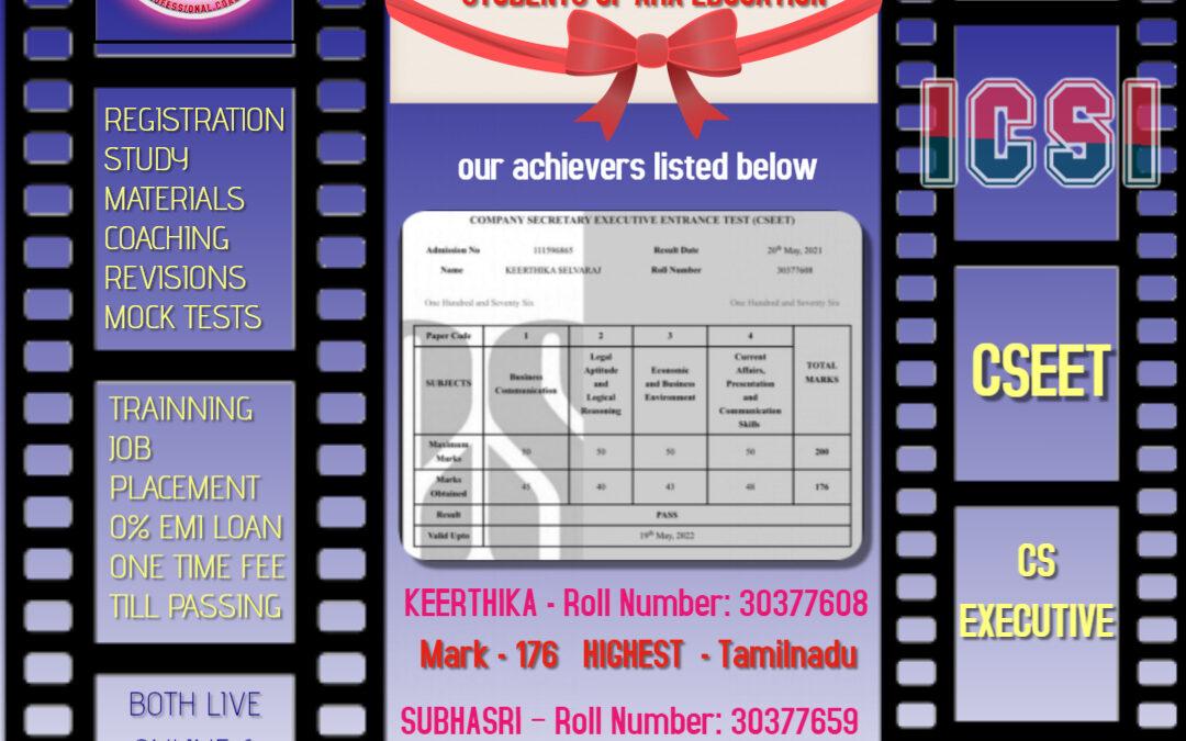 ARA EDUACTION CSEET MAY8th 2021 Results-Best Company secretray coaching Coimbatore Tamilnadu India
